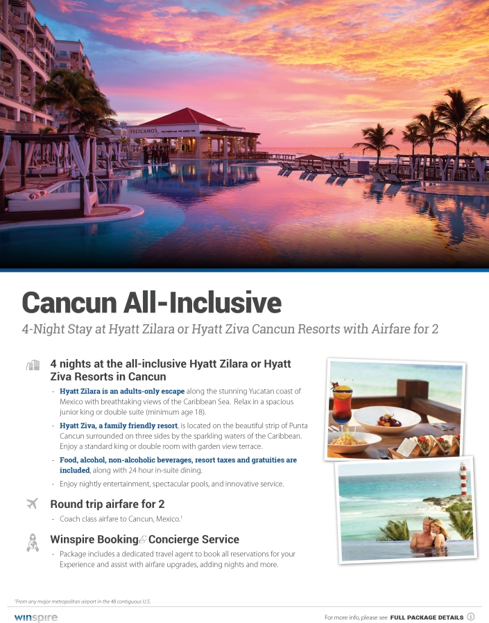 Cancun trip. 4 nights includes your choice of resorts and round trip airfare