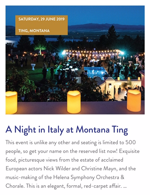 Two tickets to a night in Italy at Montana Ting.