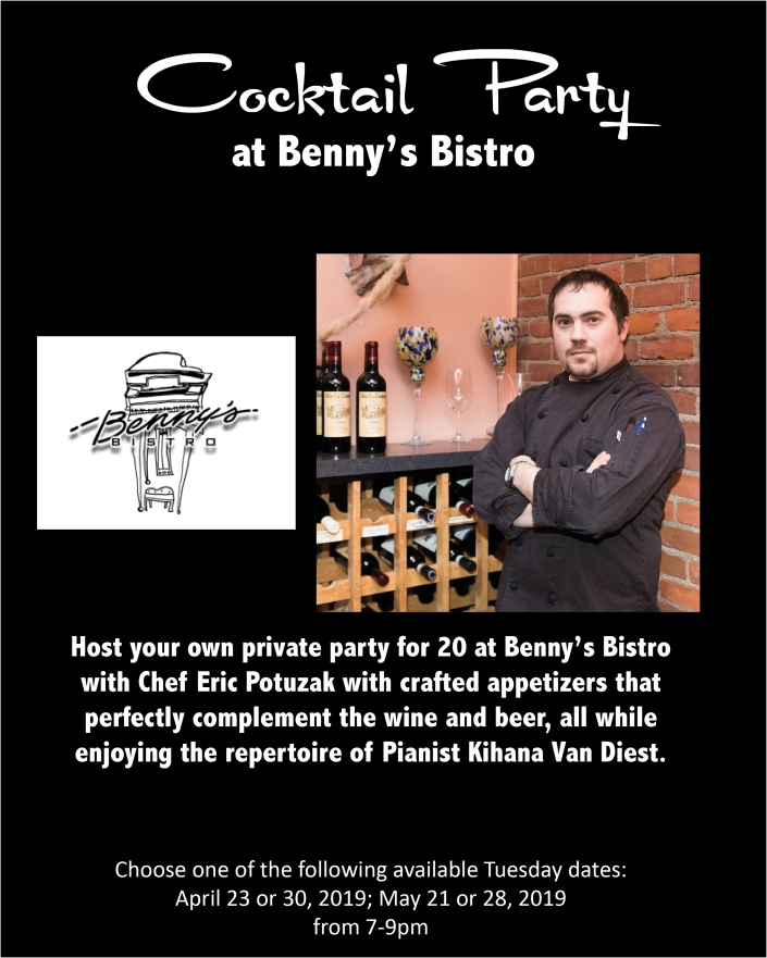 Wine, beer and appetizers for 20 people at Benny's Bistro with Kihana VanDiest playing piano
