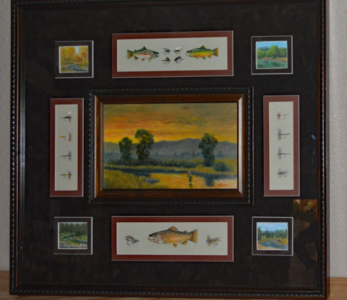 Oil painting in a shadow box frame surrounded by flies and trout illustrated in colored pencil by local artist James Stevens