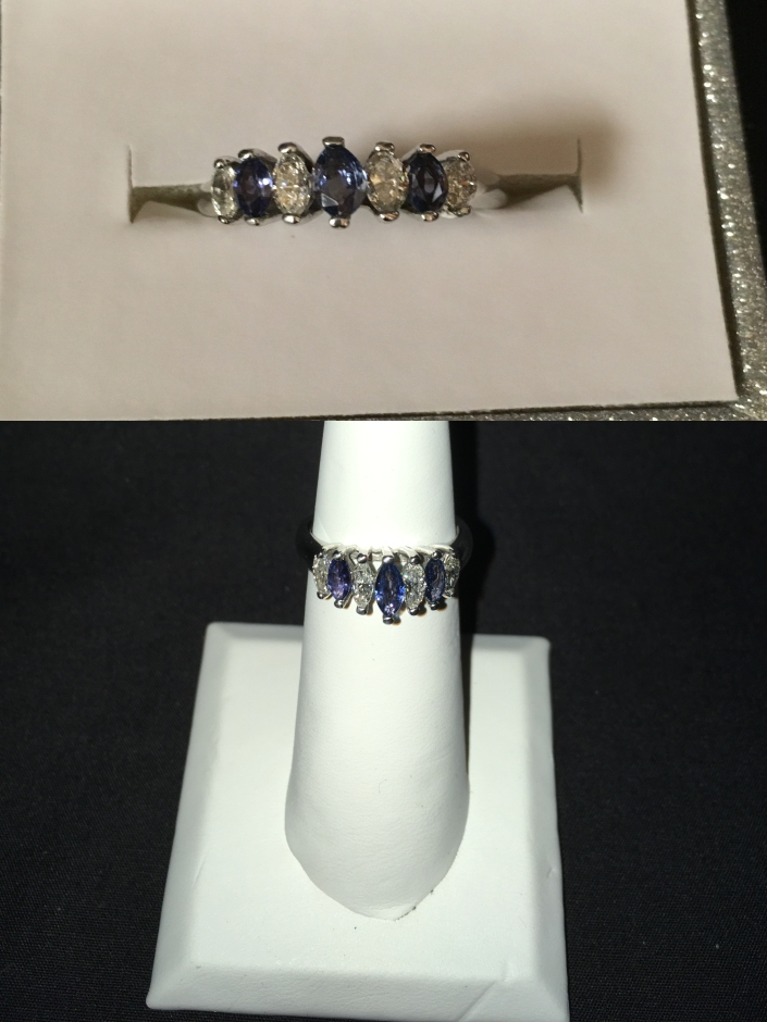 14 K White gold ring with Yogo sapphires & diamonds